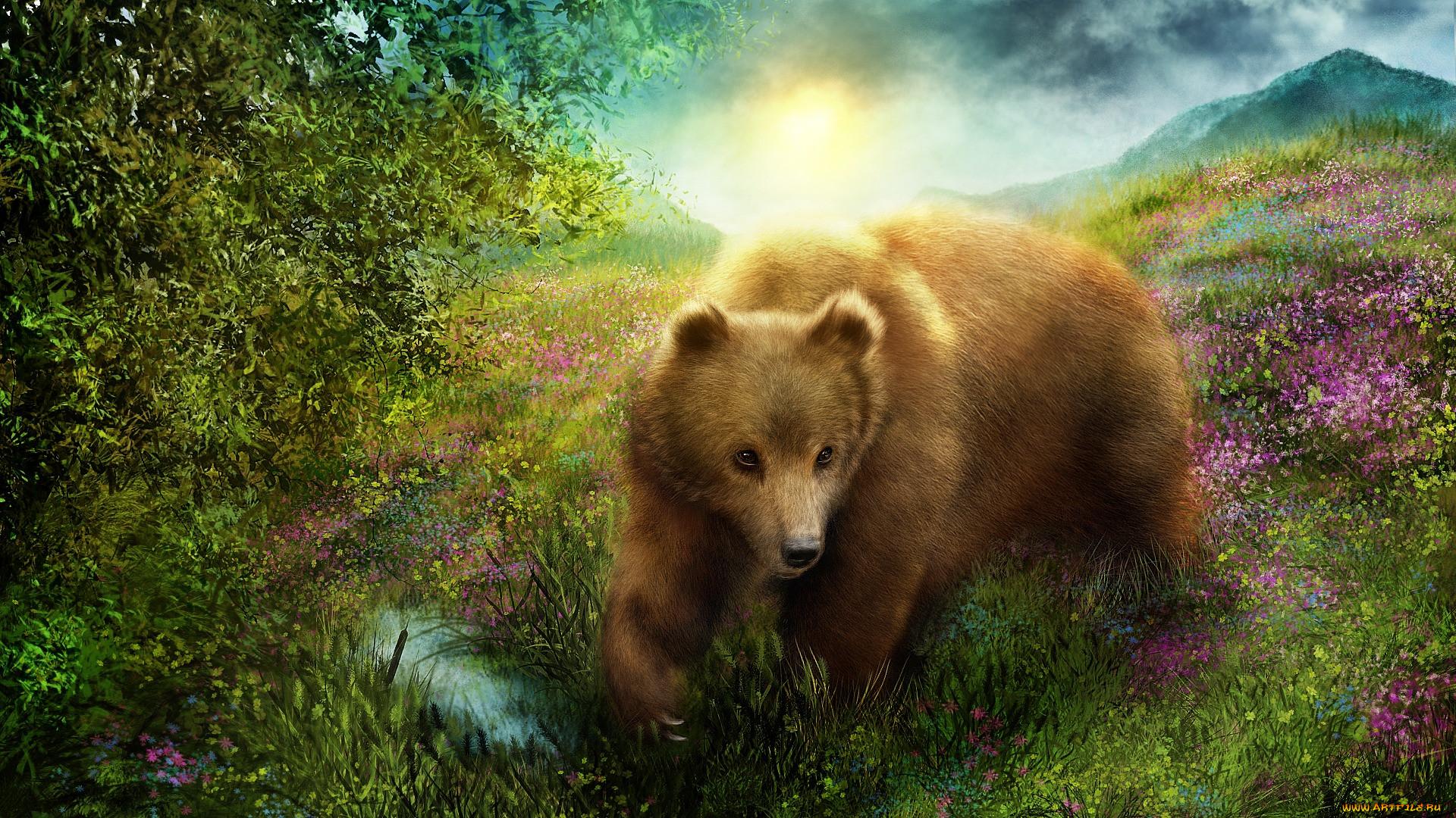 может рисунок бурый медведь в природе помните